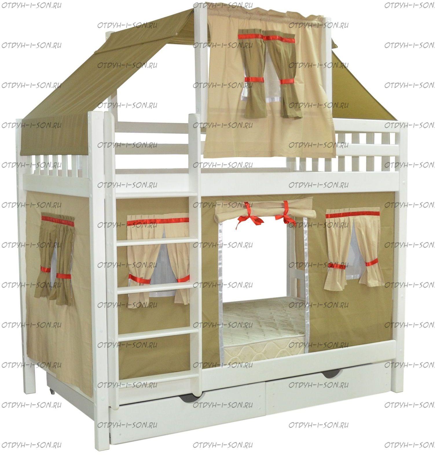 кровать двухъярусная фото из дерева схема сборки
