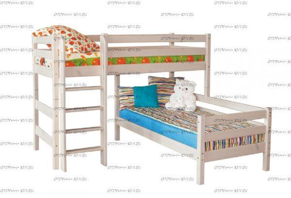 Кровать угловая двухъярусная Соня7 с прямой лестницей массив