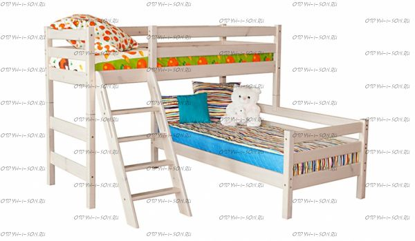 Кровать угловая двухъярусная Соня8 с наклонной лестницей массив