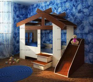 Кровать-домик Фанки Кидз 13/64 СВ + горка (80х170)