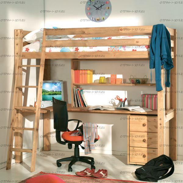 Кровать-чердак Кадет-4 с рабочей зоной