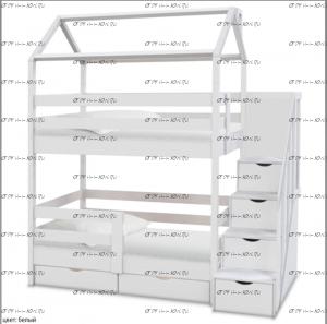Кровать-домик двухъярусная Блум (ВМК Шале)
